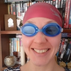 In my swimming hat and goggles