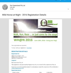 Wild Horse at Night confirmation email