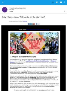 Will you be on the startline? email from Sunshine Coast Half Marathon